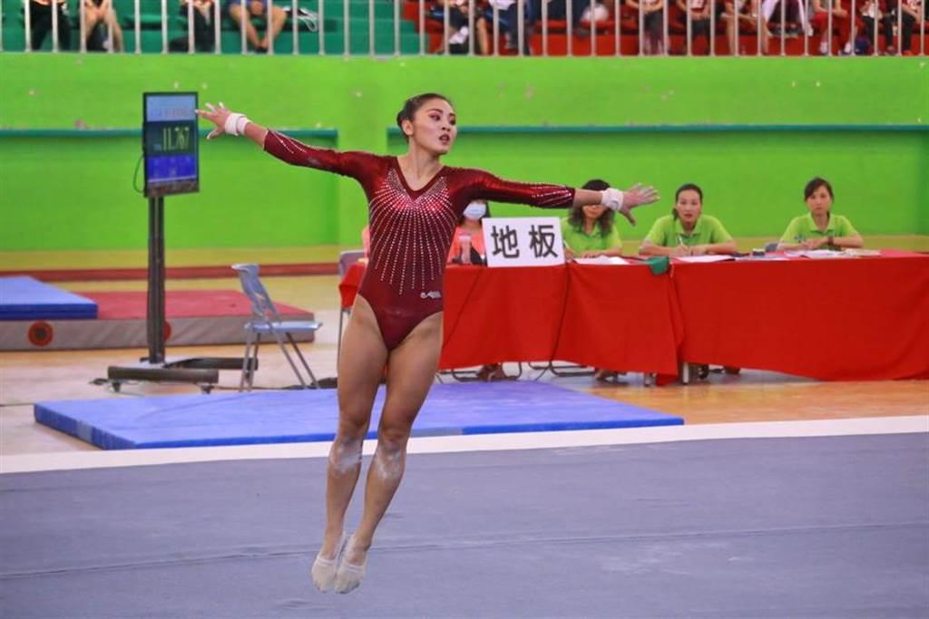 台灣師大麥劉湘涵拿下大運會韻律體操全能金牌。(大運會主辦單位提供)