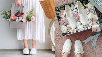 誰說新娘一定要穿高跟鞋?穿休閒鞋才能在戶外婚禮跑跳啊!