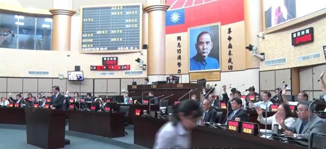 謝龍介質問台海若戰爭,誰願站出來,台南市政府官員幾乎全舉手。(程炳璋翻攝)