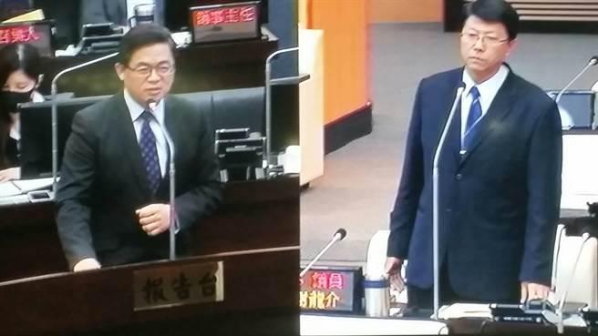 謝龍介20日總質詢砲火針對行政院長賴清德,稱代理市長李孟諺只是賴清德的傀儡。(程炳璋攝)