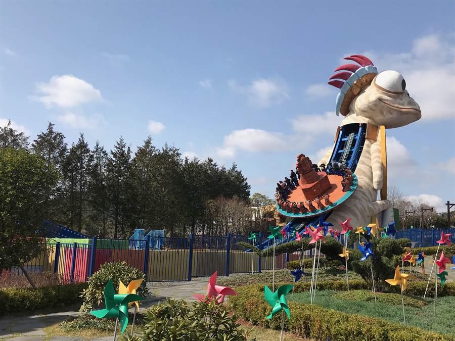 濟州神話主題公園遊樂設施。(林淑娟攝)