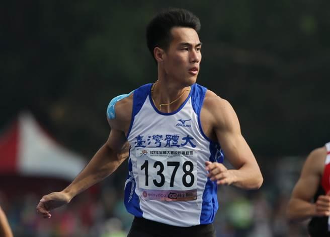 台灣國際田徑公開賽,楊俊瀚跑出10秒12成績,可惜超風速不算,相當扼腕。(中央社資料照)