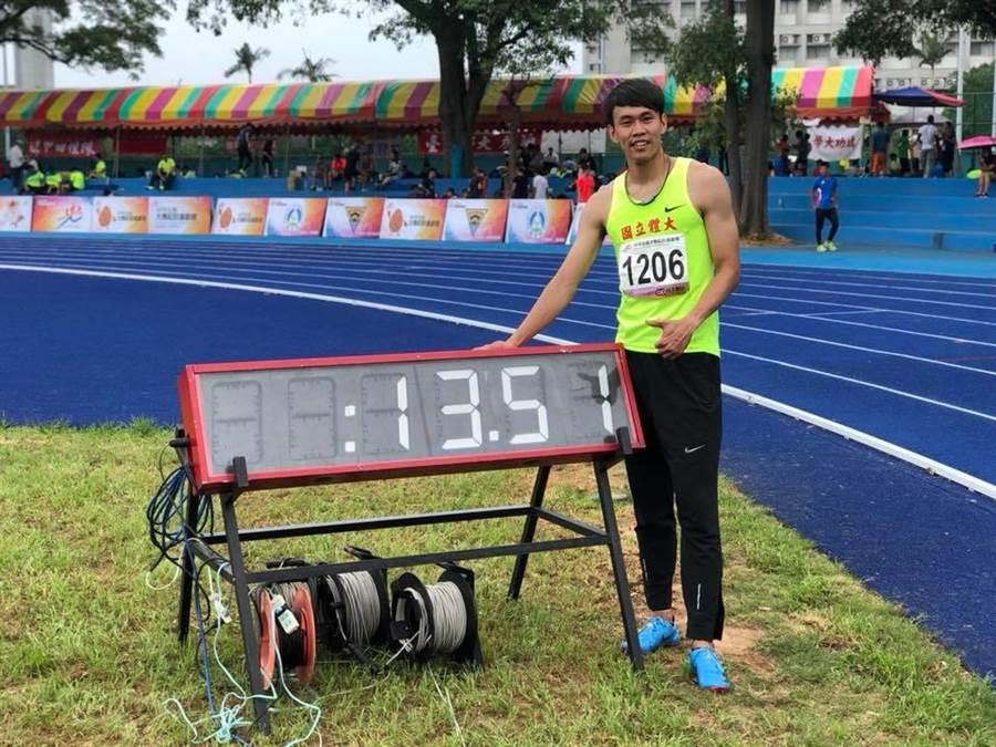陳奎儒寫下男子110公尺跨欄13秒50全國新猷,照片為參考成績13秒51。(中華台北田徑協會提供)