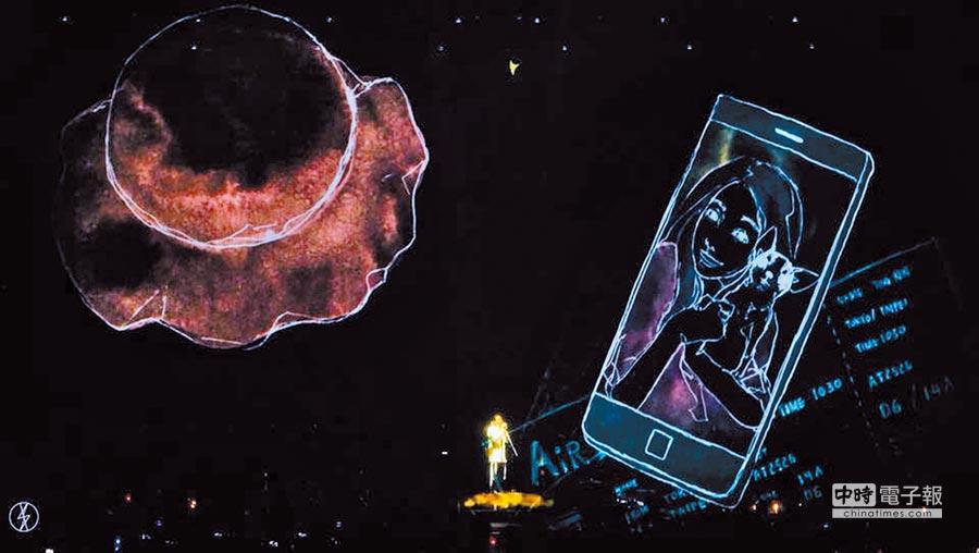 演唱會舞台上視訊投射出過世狗狗「哈吉」的插畫,讓丁文琪感動落淚。(取材自臉書)