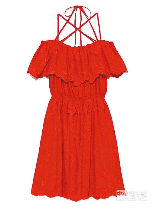 SOGO忠孝館Lily brown荷葉一字領上衣,5400元。(SOGO提供)
