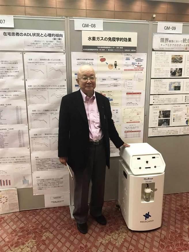 高齡80歲的有澤會長在建築業退休後,跨入氫氧保健市場。(友荃提供)