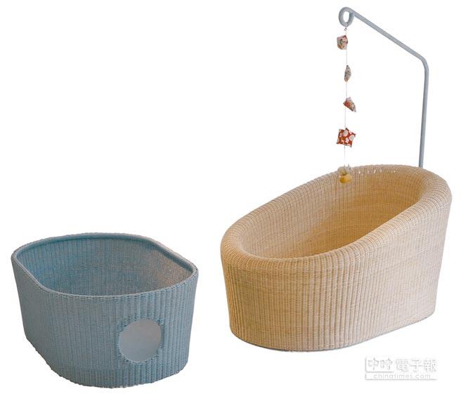 藤编品牌Yamakawa Rattan,结合摇篮和竹篮两者的「Sloop Baby Cradle」。(Yamakawa Rattan提供)