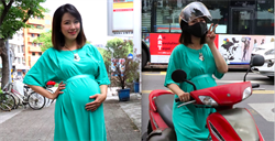 地表最強孕婦   黃瑄挺大肚騎機車跑通告