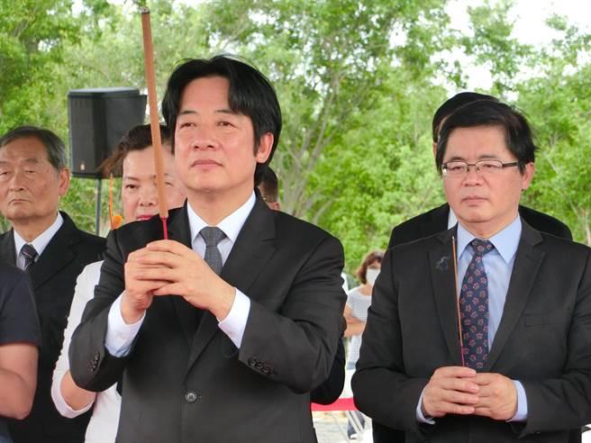 台南終於降雨,賴清德今天出席大台南會展中心動土,他說,行前也在內心默唸祈福,希望台南趕快天降甘霖。(曹婷婷攝)