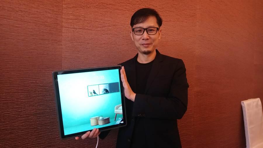 謝榮雅表示,與鴻海合資成立「富奇想」,「Time時間屏」就是第一個新創產品。(圖/曾麗芳)
