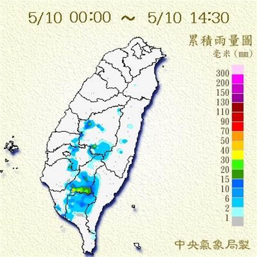 氣象局對南投以南山區發布大雨特報。(圖/取自氣象局網站)