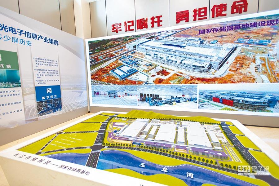 長江存儲科技公司內展示國家存儲器基地沙盤和建設現場照片。(新華社資料照片)