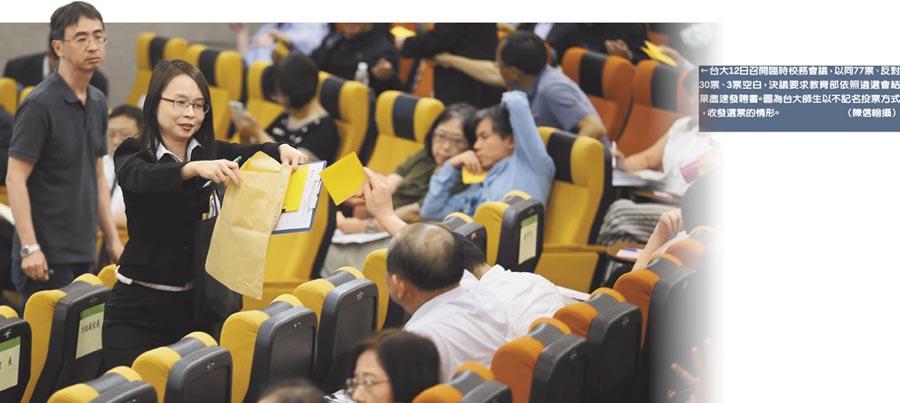 台大12日召開臨時校務會議,以同77票、反對30票、3票空白,決議要求教育部依照遴選會結果盡速發聘書。圖為台大師生以不記名投票方式,收發選票的情形。(陳信翰攝)