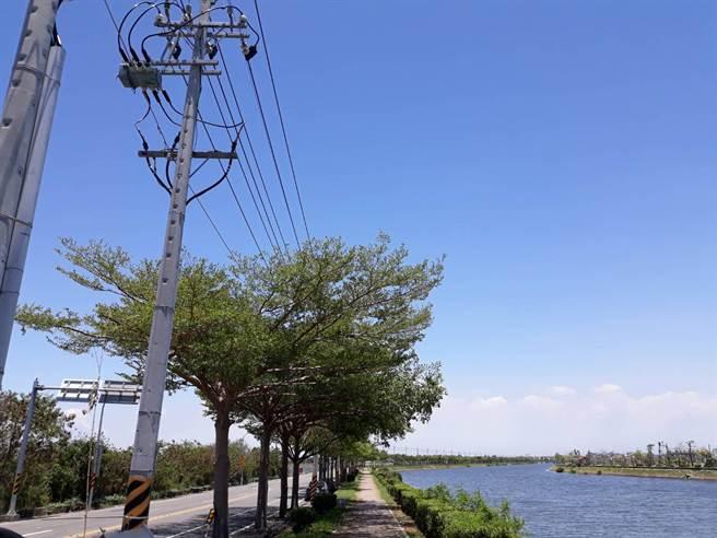 山海圳南北岸路旁的電線網絡林立,嚴重影響景觀。(洪榮志翻攝)