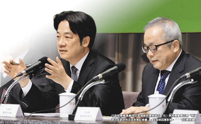 行政院長賴清德14日率領副院長施俊吉(右)與相關閣員召開「薪資現況低薪研究及其對策記者會」,並說明因應對策。(王德為攝)