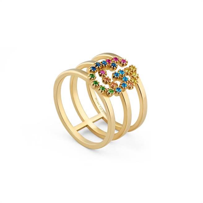 圖四:GUCCI GG戒指鑲嵌多色剛玉,6萬900元。(GUCCI提供)