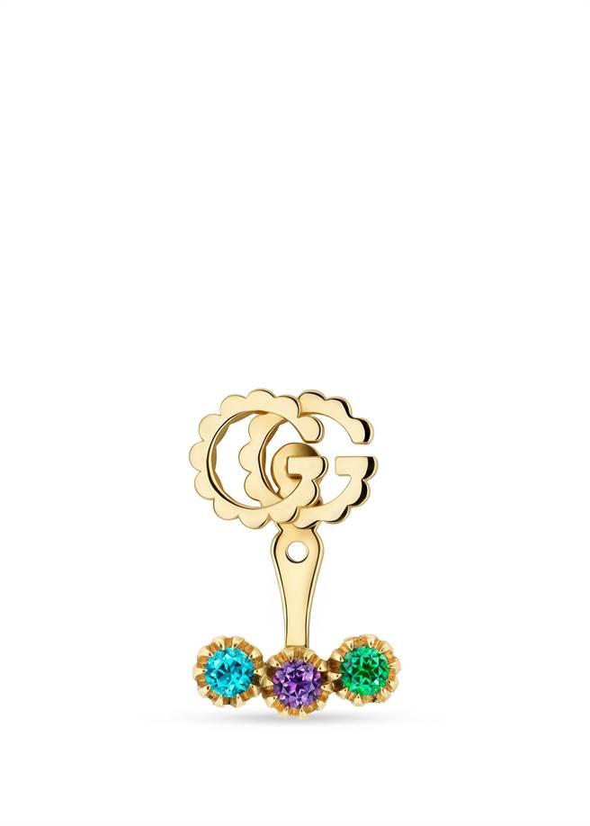 圖五:GUCCI GG耳環,鑲嵌藍色拓帕石、紫晶、綠色沙弗萊石,2萬4700元。(GUCCI提供)