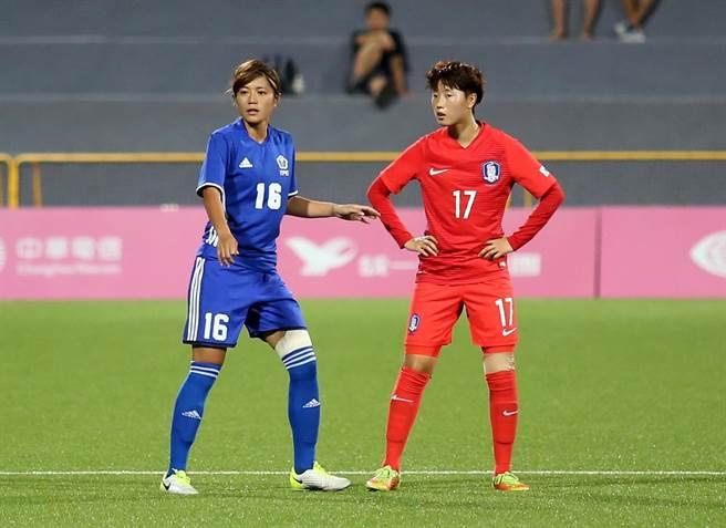 張愫心(左)去年在臺北世大運上場,左膝仍少不了厚重的包紮。(資料照/李弘斌攝)