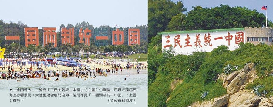 金门县大、二胆岛「三民主义统一中国」(右)心战墙,已是大陆居民海上必看景点;大陆福建省厦门沿海一带则可见「一国两制统一中国」(左)看板。(本报资料照片)