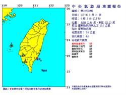 台東縣近海0903淺層地震 規模4.6 最大震度5級