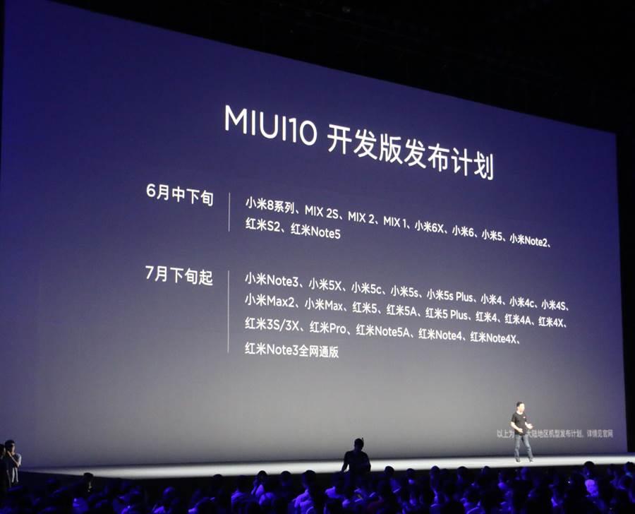 MIUI 10將支援的設備。(圖/黃慧雯攝)