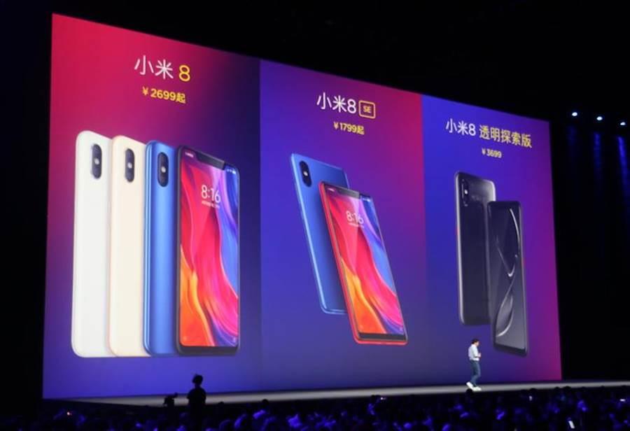 小米今日一口氣發表了三款小米8系列手機,分別是小米8、小米8 SE以及小米8 透明探索版。(圖/黃慧雯攝)