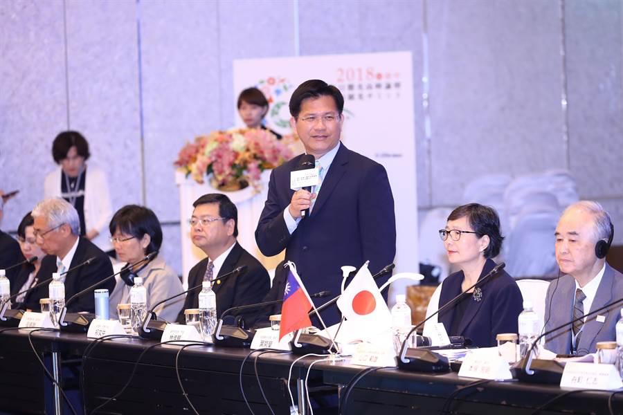 台日觀光高峰論壇首度移師台中,台中市長林佳龍(右三)表示,希望促使城市觀光更上層樓。(盧金足攝)