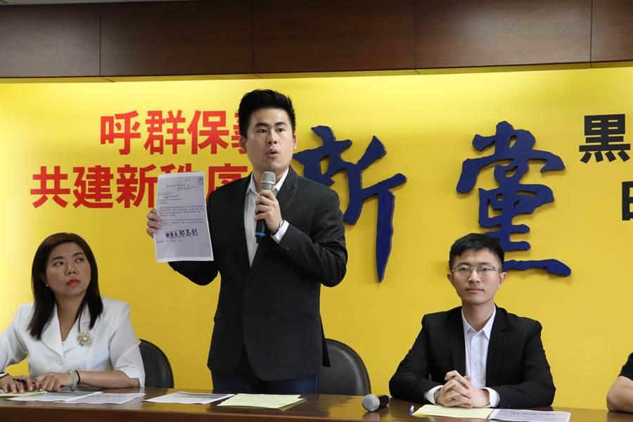 新黨今日早上召開記者會,圖為新黨發言人王炳忠。(記者呂佳蓉攝)