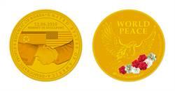 新加坡推出「川金會」紀念章 純金款限量1000枚