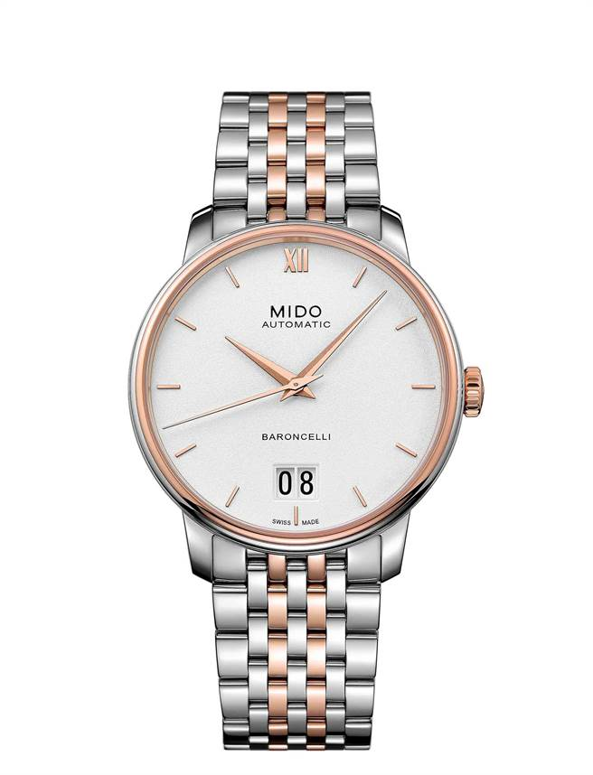 男神鄭元暢配戴美度表Baroncelli Big Date永恆系列大日期窗腕表,3萬4800元。(MIDO提供)