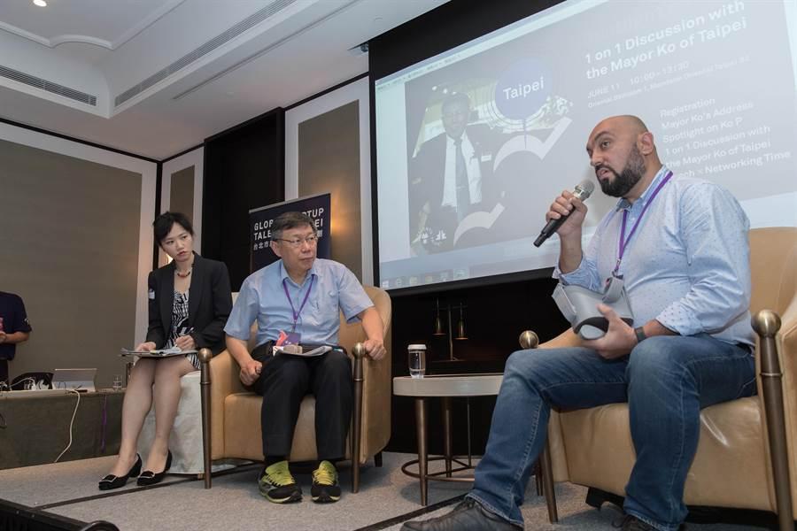 台北市長柯文哲於11日出席2018 Global startup talents @taipei活動,與來自16個國家、25組國際新創人才對談。(台北市產發局提供)