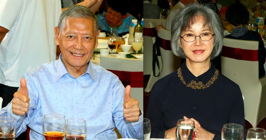石雋(左)、李璇出席端午聯歡餐會。(粘耿豪攝)