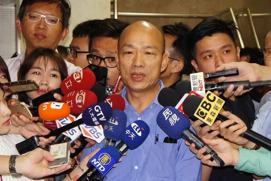發獎金給北農員工遭傳喚,國民黨高雄市長參選人韓國瑜喊冤。(張孝義攝)