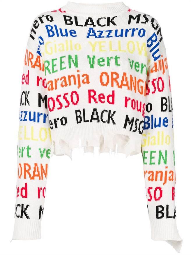 微風信義MINOSHIN MSGM彩色單字破壞短版毛衣,1萬3900元。(微風提供)