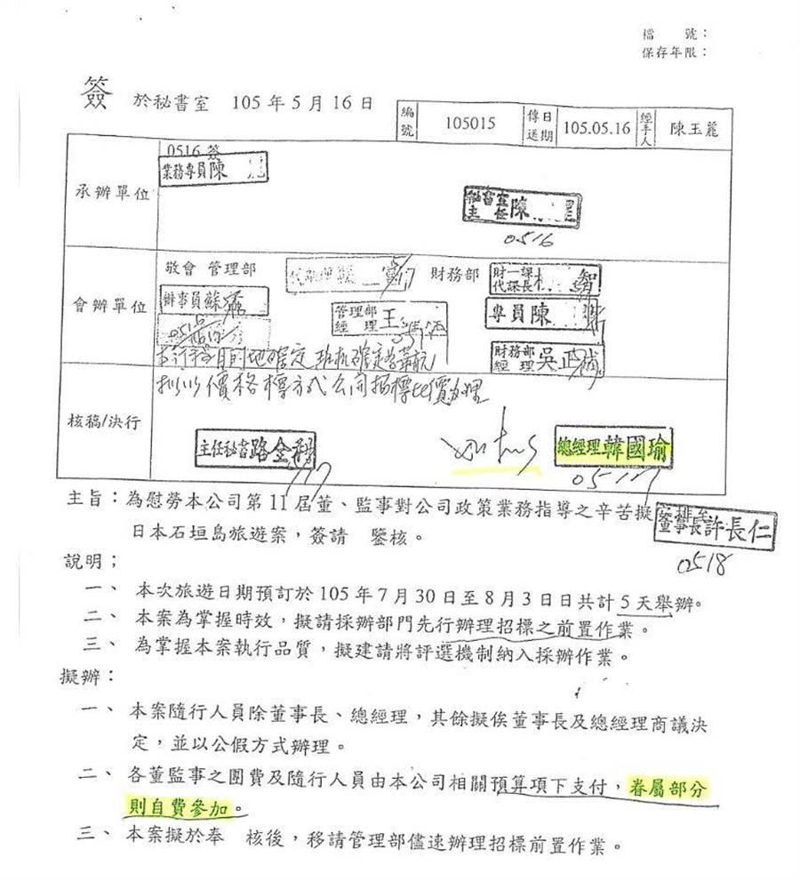 台北農產運銷公司2016年舉辦琉球旅遊簽呈。(圖/擷自段宜康臉書)