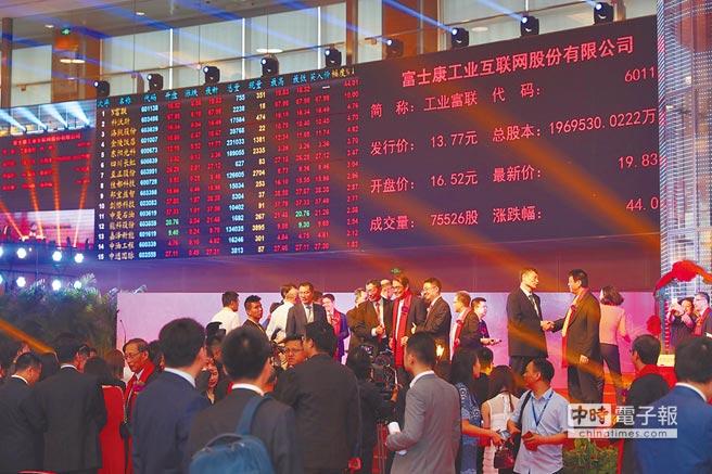 6月8日,富士康工業互聯網股份有限公司在上海證券交易所掛牌上市,股票簡稱「工業富聯」。(CFP)
