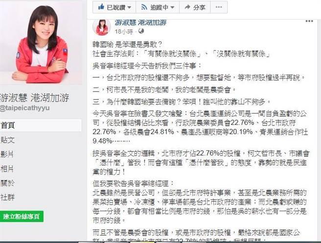 國民黨市議員參選人游淑慧在臉書上po文。翻攝游淑慧臉書