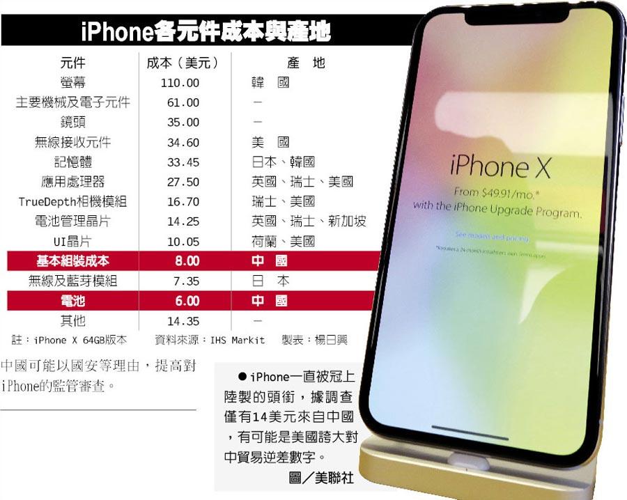 iPhone各元件成本與產地  ●iPhone一直被冠上陸製的頭銜,據調查僅有14美元來自中國,有可能是美國誇大對中貿易逆差數字。圖/美聯社