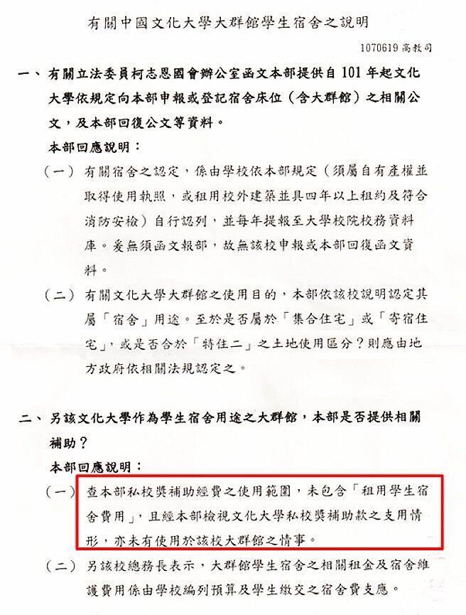 中國文化大學大群館學生宿舍說明。(翻攝自柯志恩臉書)