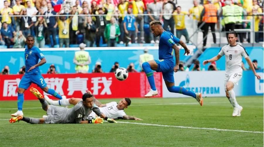 巴西球星內馬(右二)對哥斯大黎加踢進鎖定勝局的第2球。(路透)