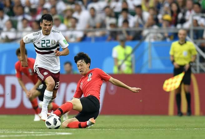 韓國隊(右)球風凶狠拚命,目前是俄羅斯世足賽最多犯規隊伍。(美聯社)