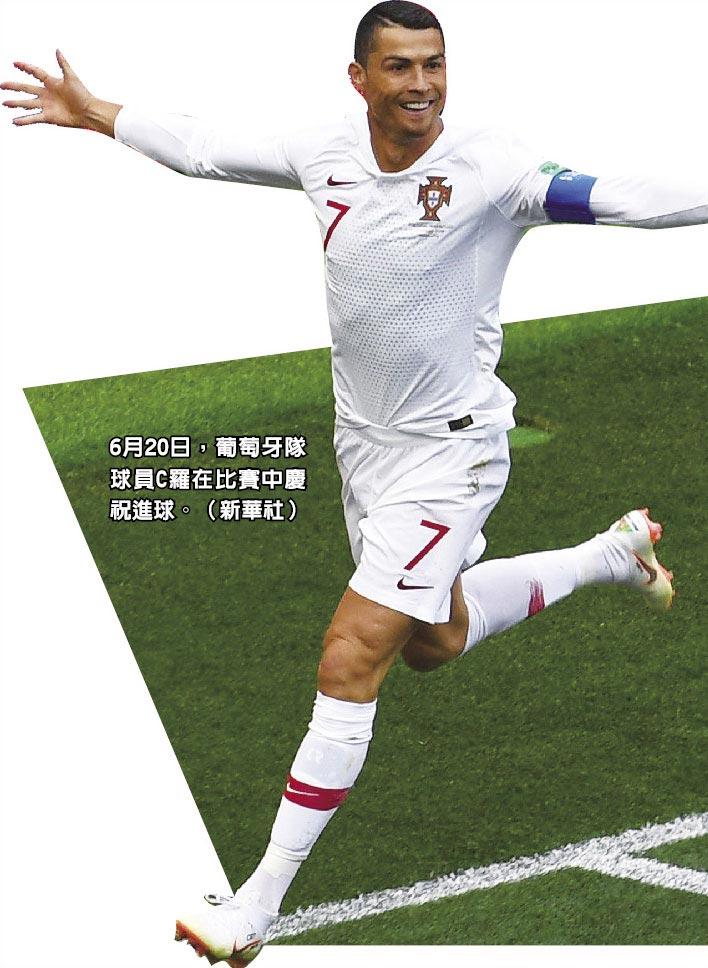 6月20日,葡萄牙隊球員C羅在比賽中慶祝進球。(新華社)
