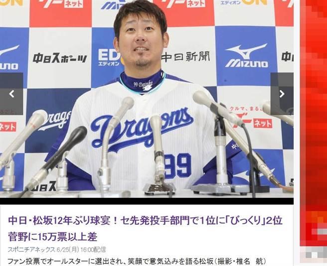 松坂大輔相隔12年,再度獲選明星賽先發。(截自日本雅虎體育)