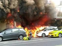 花蓮站前整排機車行大火 濃煙竄十層樓高