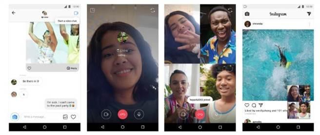 Instagram更新,現可支援4人視訊通話。(圖/翻攝Instagram Blog)
