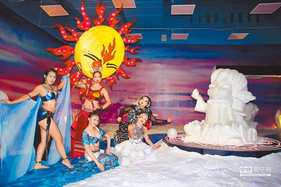 一見雙雕藝術季將在7月登場,雲嘉南濱海國家風景區管理處以鹽田奇蹟為主題,在台灣鹽博館打造「光雕新視界」,由網友票選命名的鹽精靈「海蘿拉」也提前亮相。(莊曜聰攝)