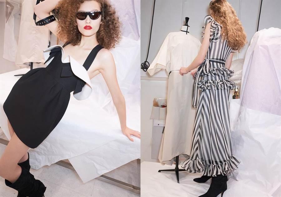 立體荷葉邊垂墜於胸前,搭配蝴蝶結緞帶與繭形剪裁的裙身設計,也顯嬌俏可人。