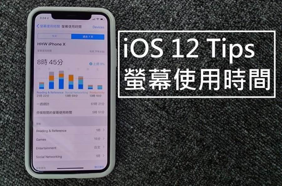 iOS 12螢幕使用時間功能。(圖/黃慧雯攝)
