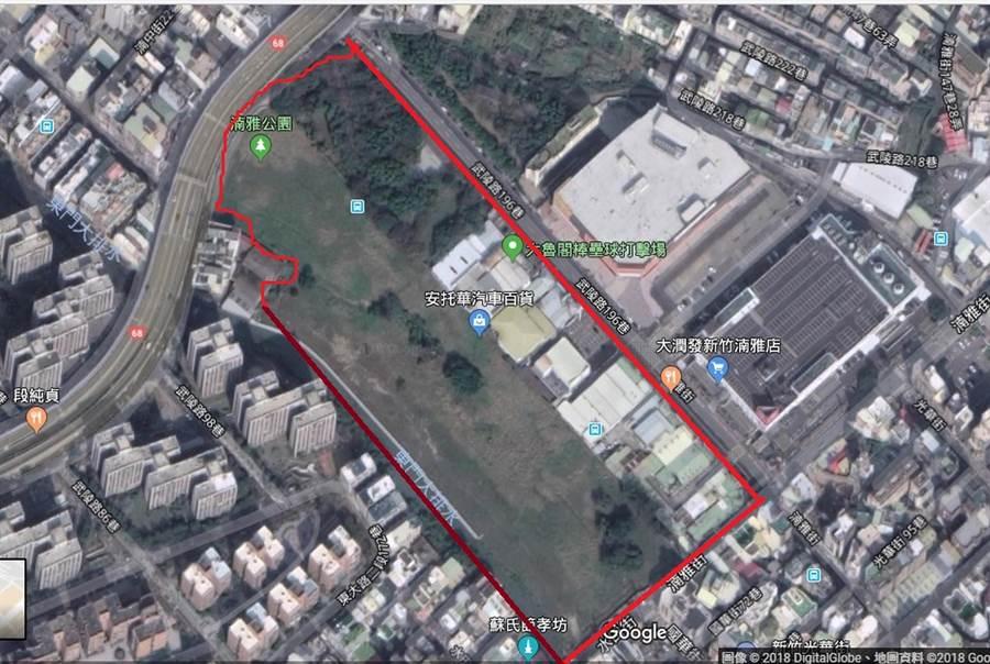 新竹市政府日前在湳雅文大用地舉行「台大新竹湳雅院區市地重畫工程開工動土典禮」,近來不少民眾誤以為台大醫院要動工了。(翻攝自Google地圖)