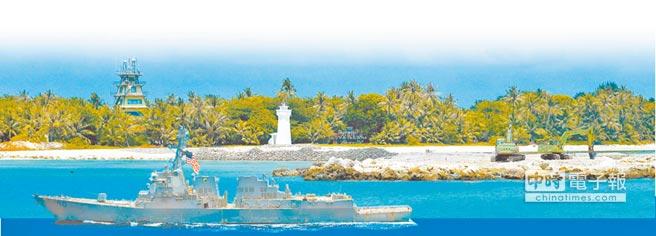 美艦與太平島碼頭示意圖。(本報系資料照片,設計畫面)